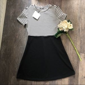 Zara | Black & White Striped Dress